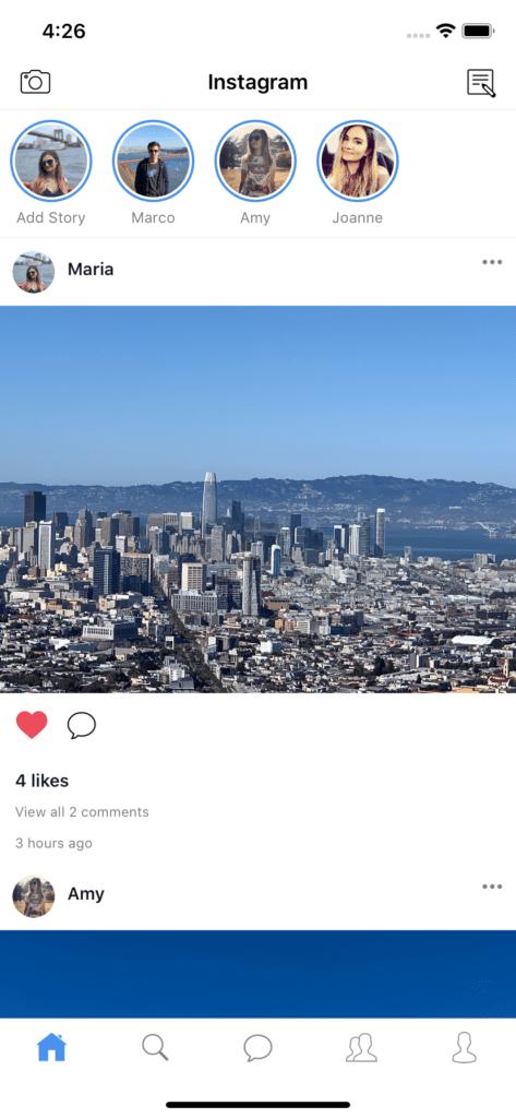 React Native Instagram Clone screen 1